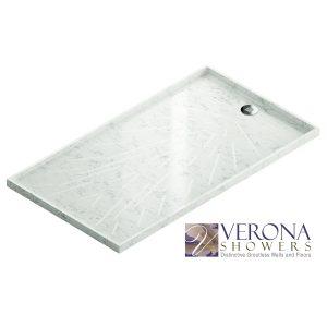 Freccia Custom Shower Pan in Silestone Blanco Orion