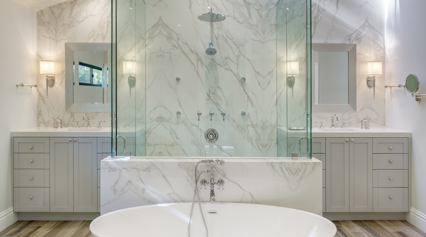 Neolith Ultracompact Groutless Bath Walls and Floors - Verona Showers