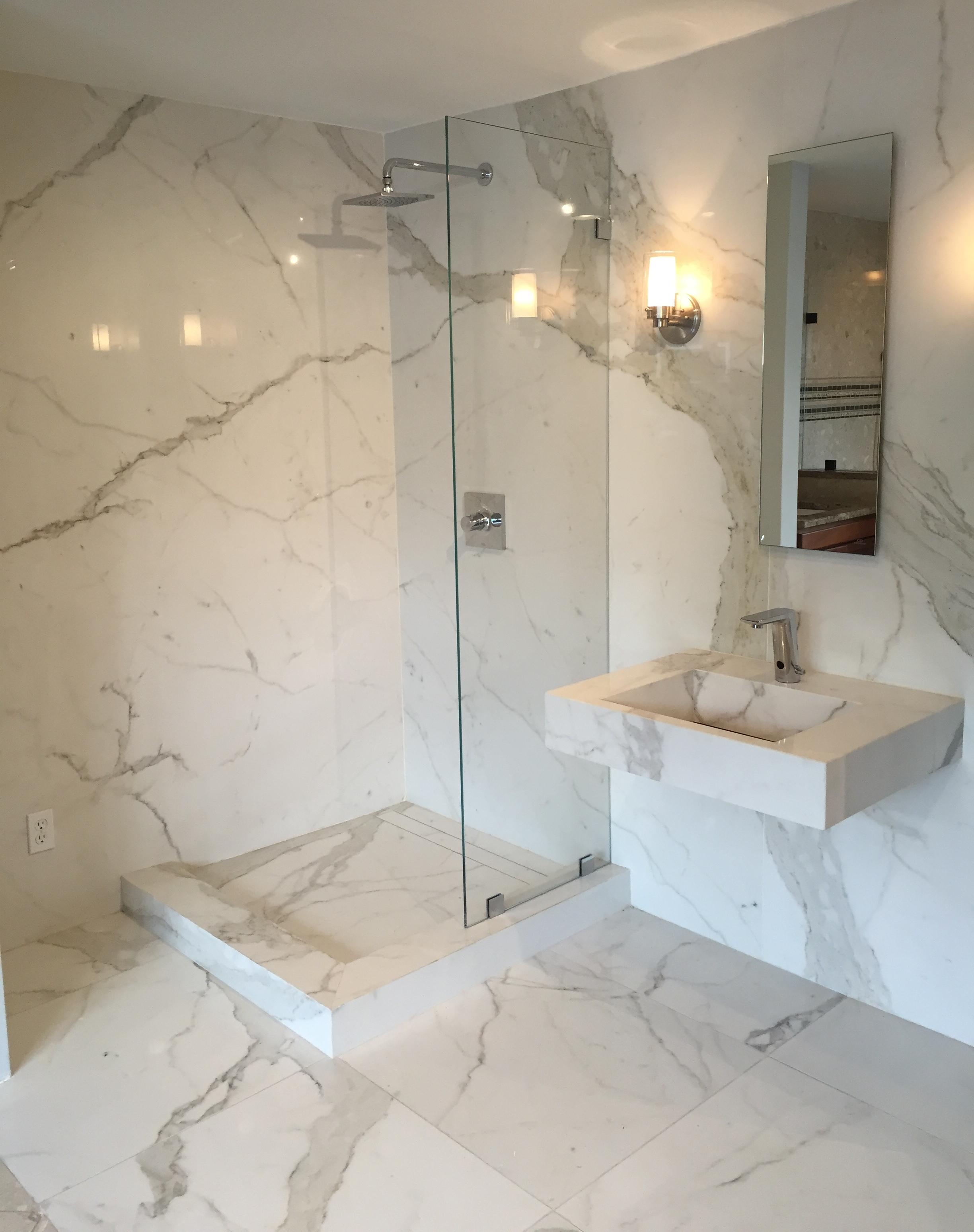 Slim Slab Porcelain Shower Wall